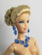Handmade Blue Crystal Bead Earrings Necklace Set Jewelry For Barbie Muse FR Doll