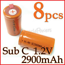 8 rechargeable Sub C SubC With Tab 2900mAh Ni-MH Battery Orange cell pack