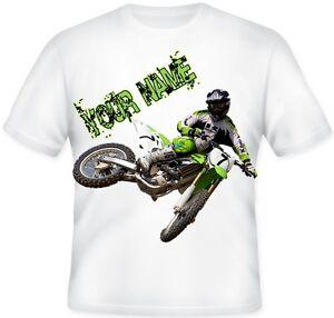 TOP BOYS Kids Personalised Kawasaki  Motocross BIKE Green MX T Shirt