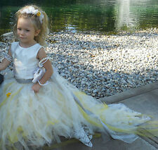 Tutu Flower Girl  dress with Train Yellow, White & Gray