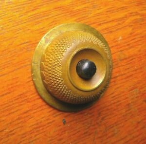 Antique Vintage Round Cast Brass & Bakelite Doorbell Push Button c1930