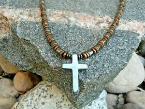 Holy Cross Copper n Black 100% Magnetic Hematite Magnetic Pendant Necklace USA