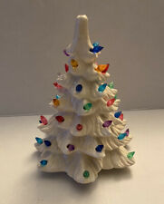 Vintage White Ceramic Christmas Tree with Lights with Multicolor Bulbs