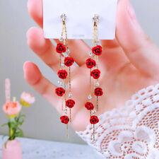 Fashion Rose Women Long Tassel Dangle Earrings Party Jewelry Accessories Gift