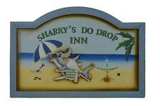 "24""L Sharky's Do Drop Inn Hanging Wooden Sign Welcome Plaque Wall Nautical Door"
