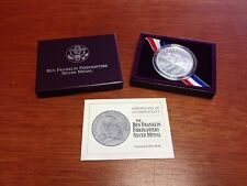 1992 Ben Franklin Firefighters Unc Silver Medal w/ Box and COA