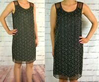 NEXT UK 12 EU 40 TAGGED £60 LADIES BLACK EMBELLISHED SHIFT DRESS