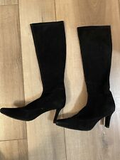 Stuart Weitzman Blk Suede Leather Stretchy Tall Boots Heels 7.5