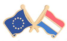 Pays-Bas & Union Européenne Eu Drapeau Amitié Courtoisie Plaqué or Broche Badge