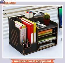 Wood Office Desk Organizer Desktop Office Supplies Storage Box Container Black