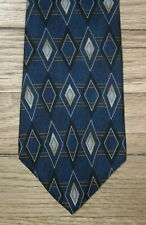 Barrington Tie Silk Blue Tan Geometric Diamond Design NIB t1532