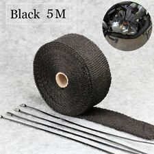 5m Fiberglass Exhaust Muffler Header Pipe Heat Wrap Tape Cloth 4 Tie Black