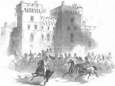 BERKS. Queen leaving Windsor Castle for Ascot races, antique print, 1845