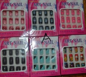 6 Packs Full Cover Design Fake Acrylic Artificial Art Nail Manicure