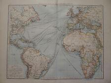 Landkarte Verkehrskarte des Atlantischen Ozeans, Lithographie, Andrees 1897