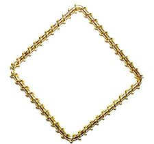 M569f Gold Open Square Diamond Hoop 50mm Wire-Wrapped Link Component 10/pkg