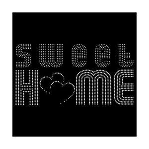 Strassmotiv - sweet home Hotfix Bügelbild Applikation Strassbild für Kissen etc.