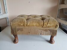 Footstool Foot Rest Wooden Frame Legs Light Green Fabric Top Furniture Home Deco