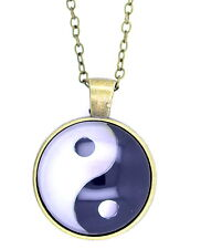 Vintage retro style yin yang yinyang sign pendant necklace, bronze outline