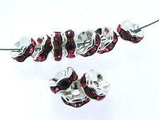 10 ROSE RHINESTONE & STERLING 8mm Rondelle Beads