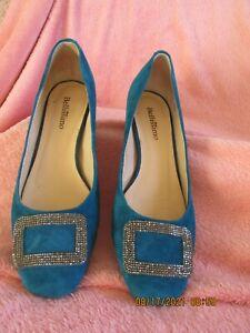 WOMEN BELLISSIMO SUEDE  BLOCK HEELED SLIP ON SHOES LAPIS BLUE SIZE 7