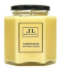 Lemongrass Scented Candles, Soy Wax Essential Oil Aromatherapy Vegan Candle