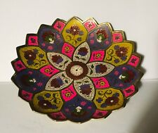 """Brass Hand Painted Persian Design Pedestal Dish Bowl 9.5"""" Art Lotus Etched    S"""
