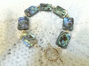 Amazing Genuine Pacific ABALONE Bracelet in Sterling Silver