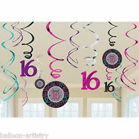 12 Assorted Sweet 16 16th Birthday Party Hanging Cutouts Swirls Decorations