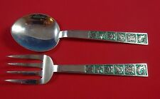 David Andersen Sterling Silver Salad Serving Set Two Piece with Birds and Flora
