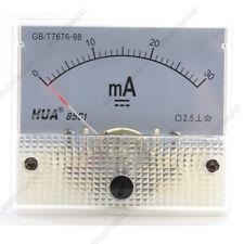 1 × DC 30mA Analog Panel AMP Current Meter Ammeter Gauge 85C1 White 0-30mA DC