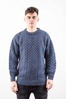 Unisex White Aran Wool Sweater Irish Made by West End Knitwear Ireland c1347