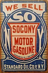SOCONY GAS  Rustic Metal Tin Sign. Vintage Rustic Garage Cafe Bar & Man Cave