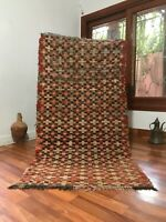 """Vintage Moroccan handmade Rug 6'2""""x3'2""""Bohemian Berber Checkered Faded Red"""