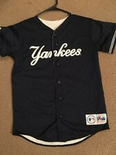 New York Yankees Reversible Mesh Navy Blue And White Majestic Youth Large