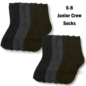 12 Pairs Kid's 6-8 Crew Uniform School Socks Navy Gray Brown Boy's Girl's Junior