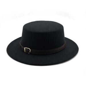 Retro Unisex Top Hat Wool Felt Fedora Hats Belt Buckle Winter Autumn Boater Hat