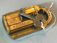 More details for unusual large heavy antique brass padlock + key b781