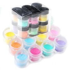 12 Color Jumbo Shiny Glitter Nail Art Tool Kit Acrylic UV Powder Dust Tips Sets
