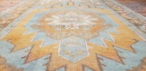 "Beautiful Antique 1930-1939s Teal Blue Dye Wool Pile Oushak Area Rug 3'5""×5'10"""