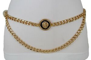 Women Gold Metal Chain Links Hip High Waist Belt Lion Charm Buckle Wave M L XL