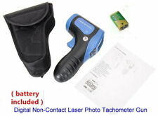 Tachometer Gun Digital Non-Contact Laser Photo Tach Tester Meter RPM W/Batteries
