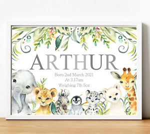 Animals Personalised Name Nursery Print Wall Art Poster Baby Boy Birth Details