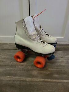 VINTAGE Girls Roller Skates White SZ 5? Kids Pacer Riedell Distressed