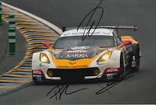 Roda, Ruberti and Poulsen Hand Signed Chevrolet Corvette 12x8 Photo Le Mans 1.
