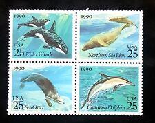 1990 Us Block of 4! 2511a, Sea Creatures/Mammals Dolphin Orca Otter! Mint Mnh!