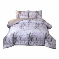 Ntbed Marble Comforter Set Queen With 2 Matching Pillow Shams Brushed Quilted Be