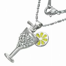 Fashion Alloy Crystal Lemon Cocktail Glass Charm Necklace with CZ