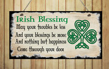 Beautiful Hand Made Shabby Style Plaque Irish Blessing Gift Sign Chic Present