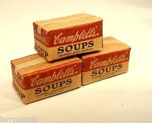 Danbury Mint Campbell's Soup Case Miniatures (3) 1/24 Scale G Scl Diorama Items